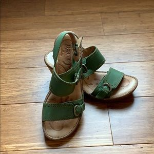 Born green leather strap sandal heels